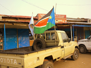 Photo: Juba has more large flags per square car than else in the world.