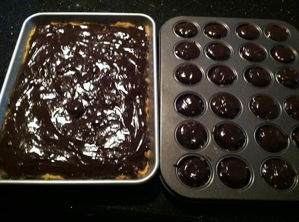 AFTER U PREPARE BROWNIE MIX SPOON ONTOP OF EACH MINI MUFFIN PAN CUPS. N...