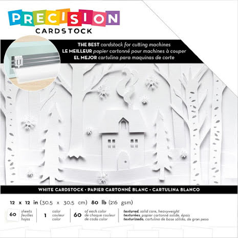 American Crafts Precision Cardstock Pack 12X12 60/Pkg - White Textured