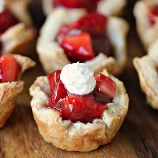 Strawberry Filled Mini Puff Pastries.