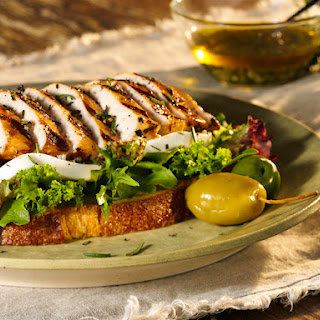 Open-Faced Grilled Tuscan Chicken Sandwiches with Fresh Mozzarella.