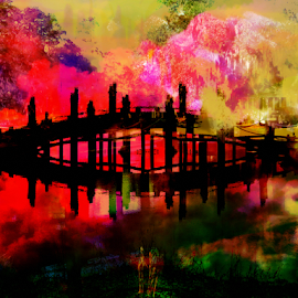 Foot Bridge Reflection by Edward Gold - Digital Art Things ( digital photography, red green yellow purple colors, foot bridge, colorful, digital art,  )