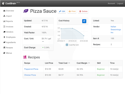 CostBrain - Food Cost Manager- screenshot thumbnail