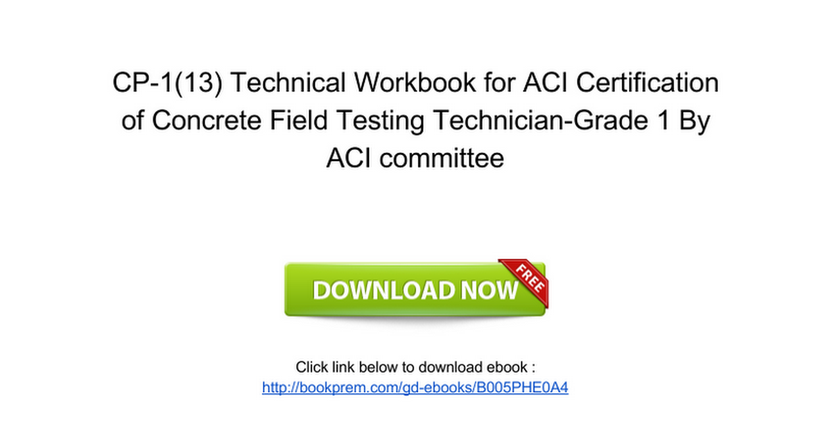 D357ok Free Pdf Cp 113 Technical Workbook For Aci