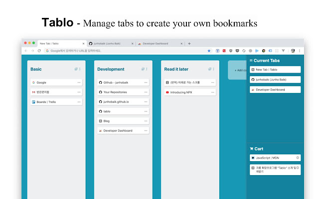 Tablo - Bookmark and manage tabs
