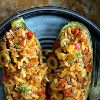 Zucchini Boats Filled with Rice and Chorizo.
