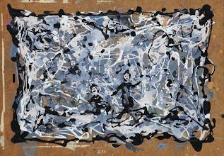 """Photo: """"La danse des charbonniers"""". Bombe et peinture métal sur médium. 50x35cm, format horizontal."""