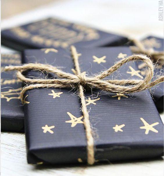Black paper and gold sharpie gift wrapping: