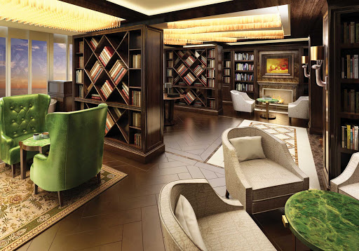 Well-stocked and exceedingly comfortable, the Library on deck 11 forward of Seven Seas Explorer offers a calm setting for reading and relaxing.
