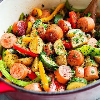 20 Minute Healthy Sausage and Veggies One-Pot.