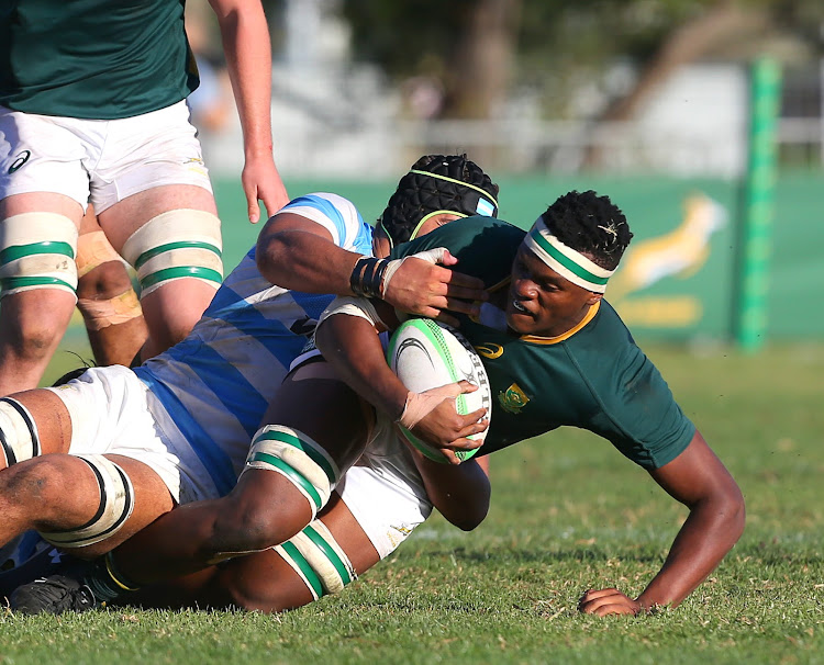 Phendulani Buthelezi of Junior Springboks during the Under 20 International Series match between South Africa and Argentina at Paul Roos Gymnasium on April 17, 2019 in Stellenbosch, South Africa.