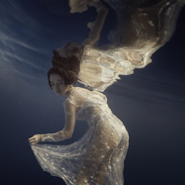 My Lace by Dmitry Laudin - People Fashion ( dress, blue, white, reflection, lace, light, dive, girl, darkness, water. dive, swim )