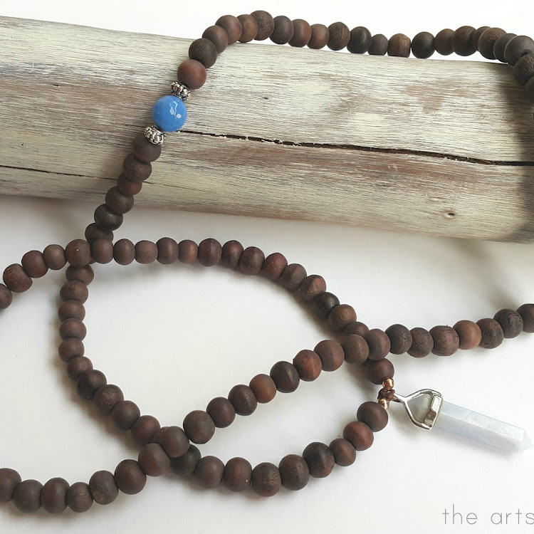 Blue Lace Agate Sono Bead Mala - Long Necklace
