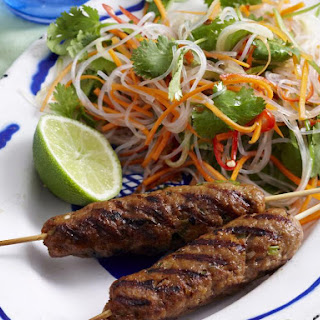 Vietnamese Pork Skewers with Noodle Salad and Lime Chili Dressing.