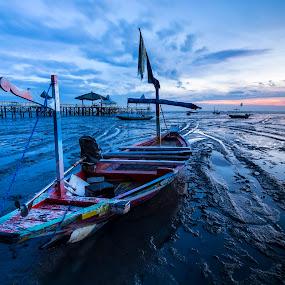 Waiting Until Tide by Robertho Ponomban - Landscapes Beaches ( beaches, travel, sunrise, landscapes, boat )