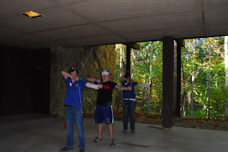 Photo: Underneath the Tsani Dining Hall is an open area which can be used for games, or archery as shown here.
