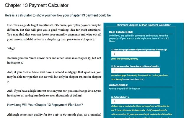 Fair Market Value Car Calculator >> Chapter 13 Payment Calculator