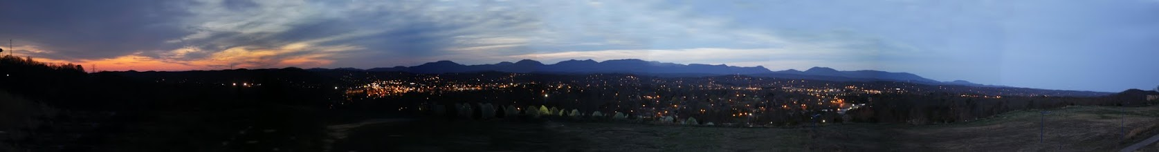 Photo: Oak Ridge at nightfall just after sunset from Oak Ridge Summit on Pine Ridge - 90 MM lens setting