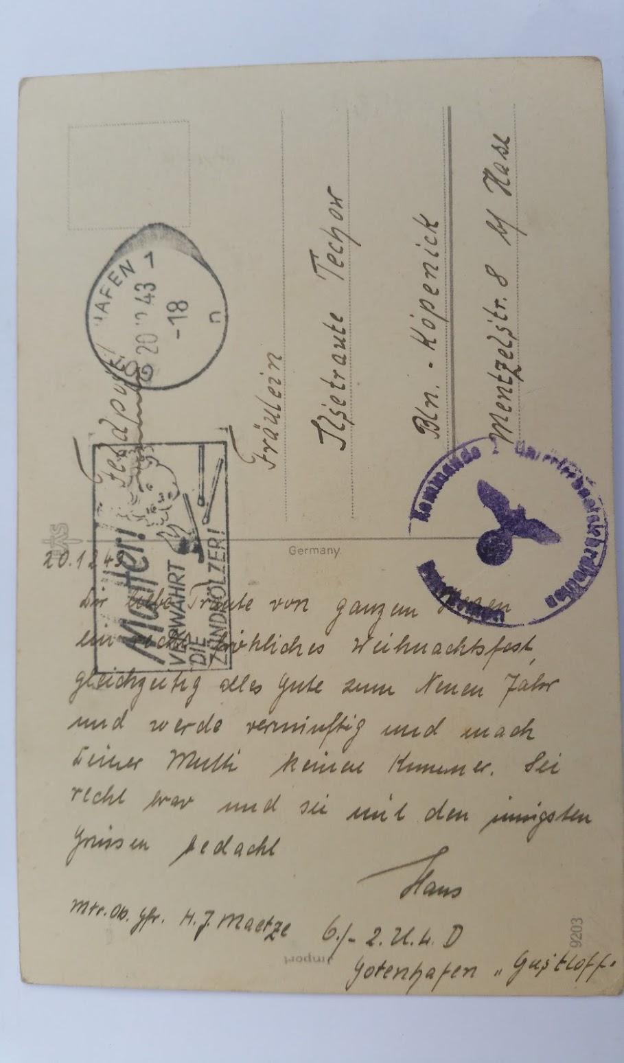 """Karte von der """"Gustloff"""" - 20.12.1943"""