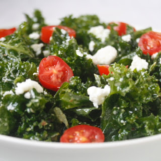 Raw Kale Salad with Lemon Feta Dressing