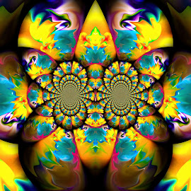 The Butterfly Effect by Carole Pallier  - Abstract Patterns ( water, abstract, patterns, kaleidoscope, colourful, blue, green, pink, yellow, oil, repeating )