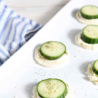 Cucumber Finger Sandwiches with Feta and Cream Cheese Spread.