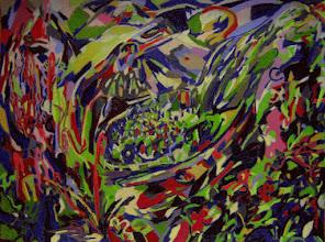 """Photo: Тадеуш Жаховский """"Домик Счастья. Lodge Of Bliss"""",  Title: Lodge Of Bliss / Домик Счастья Artist: Tadeush Zhakhovskyy / Тадеуш Жаховский Medium: Painting. mixed techique on cardboard, смешанная техника, дизайнерский картон. 46 cm x 61 cm x / 18 in x 24 in. Описание картины: """"Мужчина (справа, ниже) и женщина (слева, выше), обое находятся в круговом полете; по обеим сторонам от них - цветы и узоры; в центре виден горный пейзаж, в горной долине находится дом"""". О наличии картины просьба контактировать галерею. Также предлагается напечатанная на холсте репродукция этой картины в любом размере."""