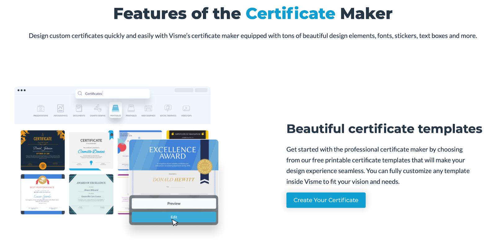 Visme certificate maker