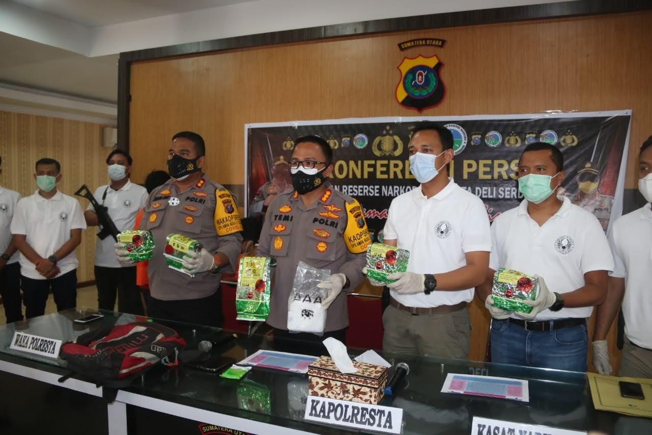 Masuk Melalui Medan , 5 Kg Sabu Ditangkap Sat Narkoba Polresta Deli Serdang