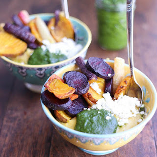 Polenta with Kale Pesto and Root Vegetables