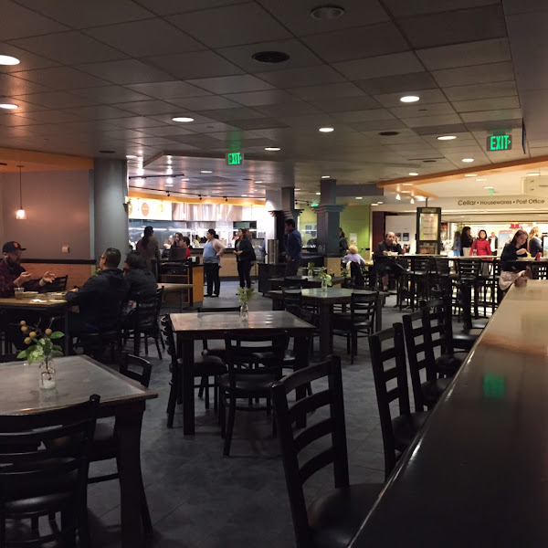 The dining room at Asian Box. 100% GF located in the basement of Macy's.