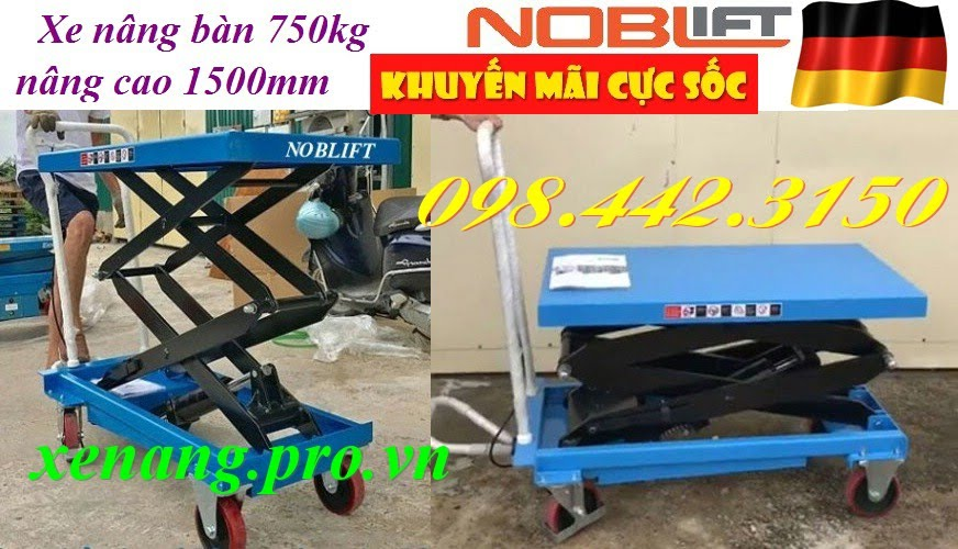 Xe nâng mặt bàn 750kg nâng cao 1.5m