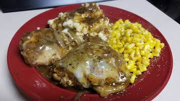 French Onion Chicken Thighs with Provolone