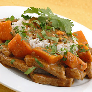 Red Curry Pork with Sweet Potatoes.