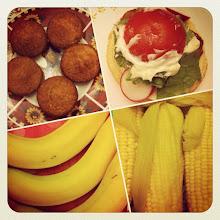Photo: Food theme #muffin #burger #mayo #banana #corn #food #intercer #veggie #salad #fruit #tomato - via Instagram, http://instagr.am/p/MxSG_-pfqn/