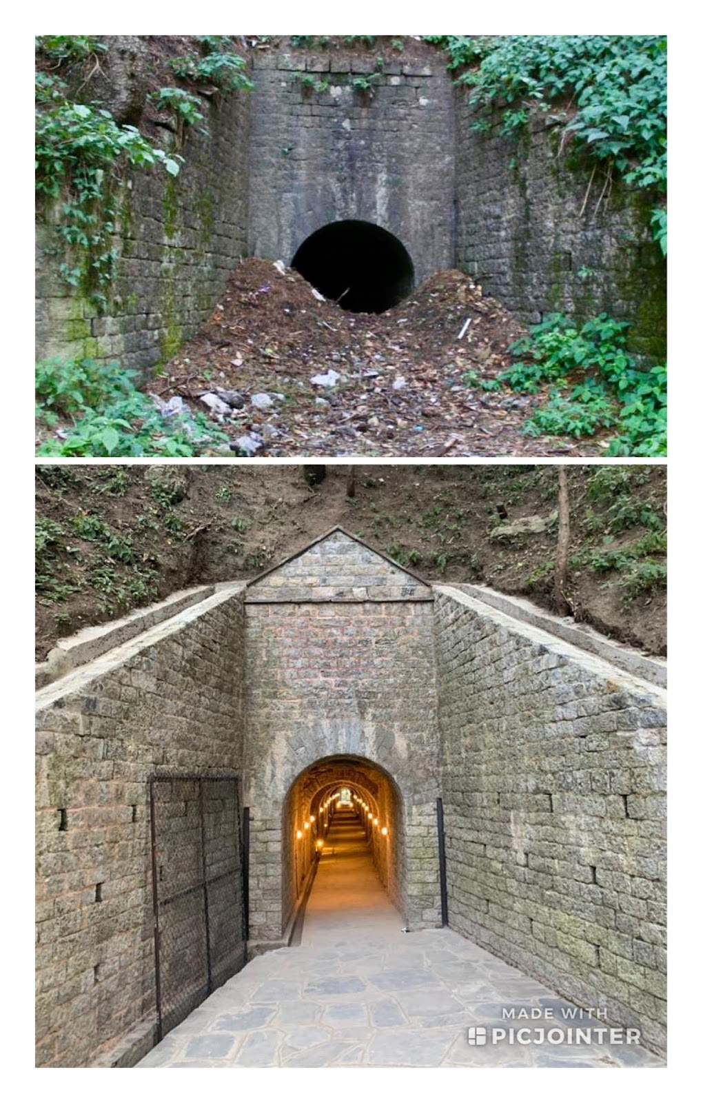 Before and after picture of Moto Tunnel