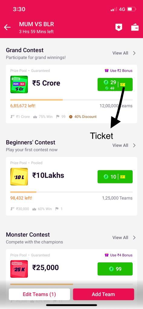 MPL Cash Contest Ticket
