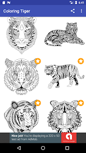 Tiger Coloring Book for Adults 2017 Free - náhled