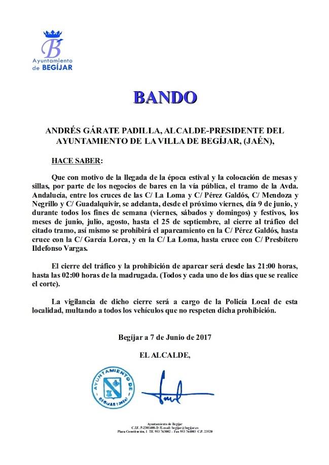 Bando Cortes Avenida Andalucia