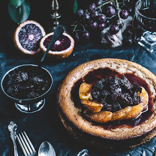 Blood Orange Ricotta Cheesecake with Red Wine Glazed Figs.