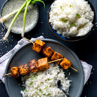 Sweet Sriracha Rubbed Salmon Skewers with Fragrant Coconut Rice.