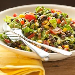 Healthy Black Bean Salad with Creamy Avocado Dressing.