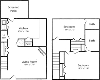 Go to Two Bed, 2.5 Bath Townhome Floorplan page.