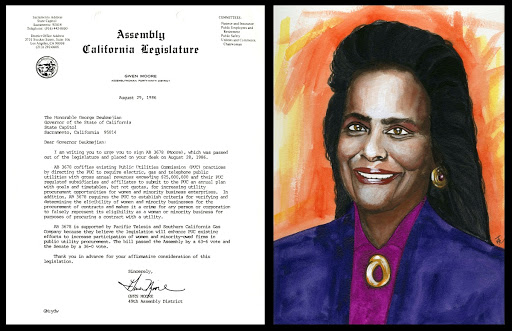 Original Watercolor of Assembly Member Gwen Moore, and letter from Moore to California Governor George Deukmejian