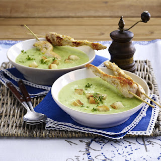 Chilled Cucumber and Avocado Soup with Chicken Skewers