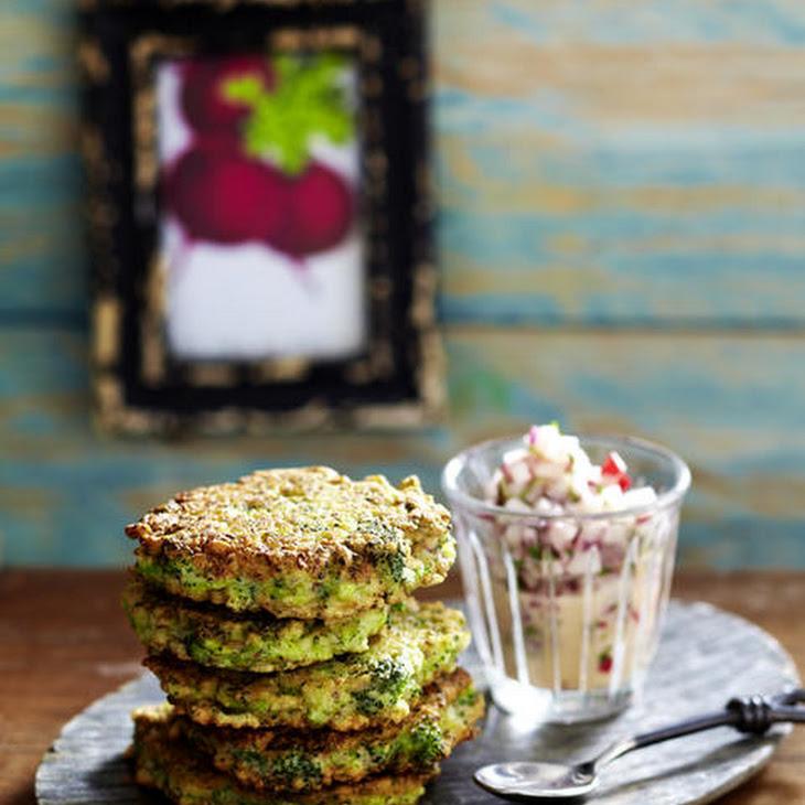 Broccoli Fritters with Mashed Potatoes and Radish Salad