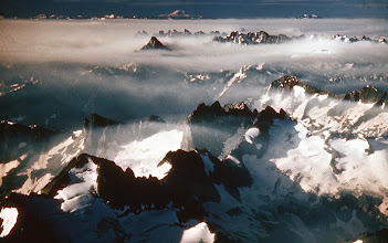 Photo: 3. Same view as number 1, only wider angle. Note Glacier Peak at the far left horizon. North Cascades Mountains extend for twenty to fifty miles to the left out of sight of the picture. The range is some eighty to one hundred miles wide at its widest point.