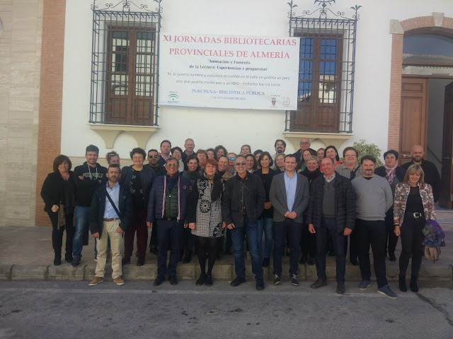 Bibliotecarios almerienses durante su último encuentro, celebrado en Purchena en 2018.