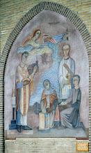 Photo: 1421 Het Mirakel van Bergen. Fresco gemaakt door kunstenaar Jaap Min in 1949-1950.  1421 Bergen's Miracle Fresco painted by the artist Jaap Min in 1945-1950.