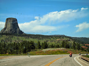 Photo: Devil's tower and motorbikes, we must be almost home!